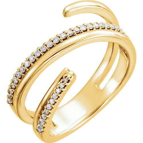 14K Yellow 1/6 CTW Diamond Negative Space Ring