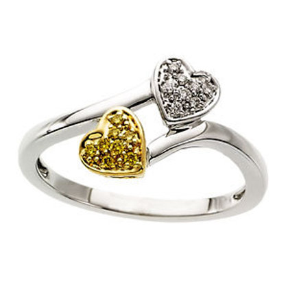 Natural Yellow & White Diamond Heart Ring