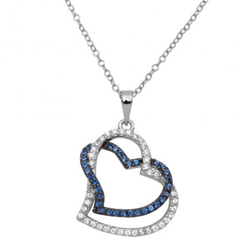 Sterling Silver Rhodium Plated Double Open Heart CZ Necklace