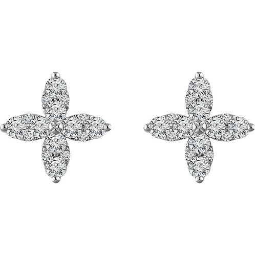 14K White Gold 1 1/4 CTW Diamond Flower Earrings