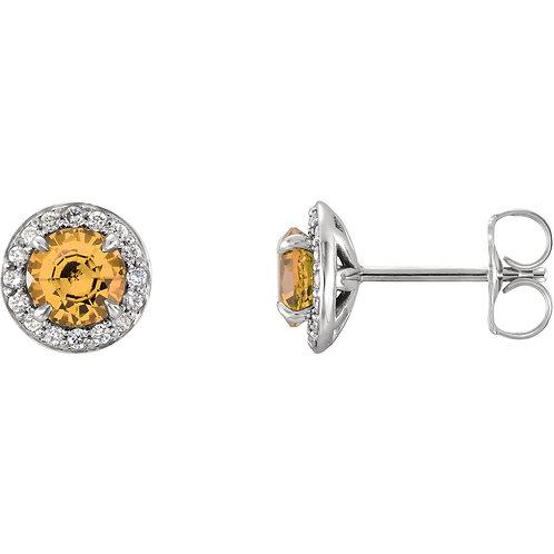 14K White 5mm Round Citrine & 1/6 CTW Diamond Earrings