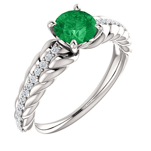 14K White Gold Emerald & 1/8 CTW Diamond Ring