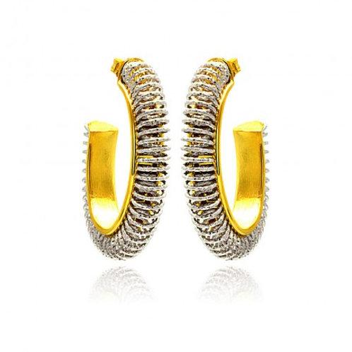 Sterling Silver Rhodium & Gold Plated Hoop Earring