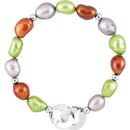 """Freshwater Cultured Dyed Multi-Color Pearl 7.5"""" Bracelet"""