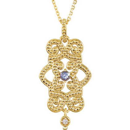 "14K Yellow Tanzanite & Diamond Granulated Design 18"" Necklace"