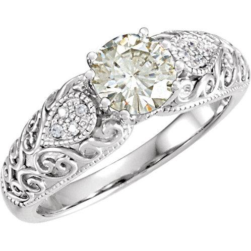 14K White 6.5mm Round Forever Classic™ Moissanite & .05 CTW Diamond Engagement R