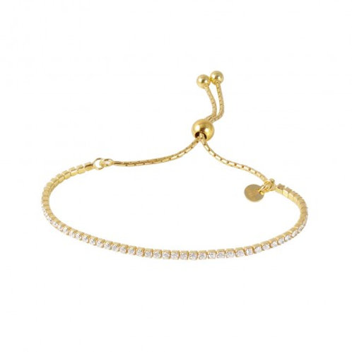 Sterling Silver Gold Plated Dangling Adjustable Bengle Italian Bracelet