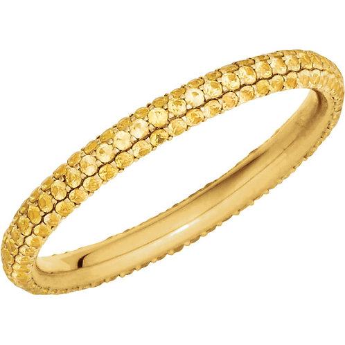 14K Yellow Yellow Sapphire Eternity Band Size 6