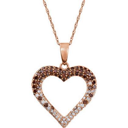 "14K Rose Gold 1/2 CTW Diamond Heart 18"" Necklace"
