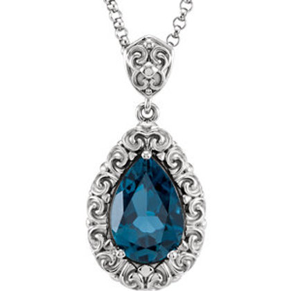 "14K White 12x8mm London Blue Topaz 18"" Necklace"