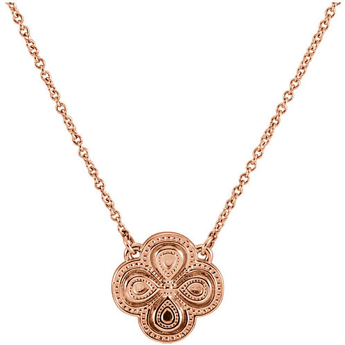 """14K Rose gold 18"""" Clover Necklace"""