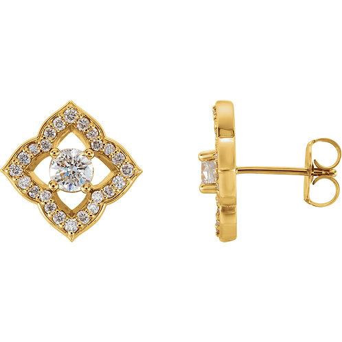 14K Yellow Gold 3/4 CTW Diamond Halo-Style Clover Earrings