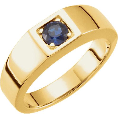 14K Yellow Sapphire Men's Ring