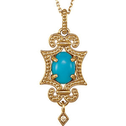 "14K Yellow Turquoise & .015 CTW Diamond 18"" Necklace"