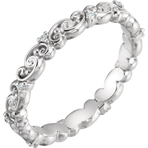 14K White Gold .05 CTW Diamond Eternity Band