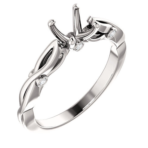 14K White Gold Sculptural Inspired Semi-set Engagement Ring