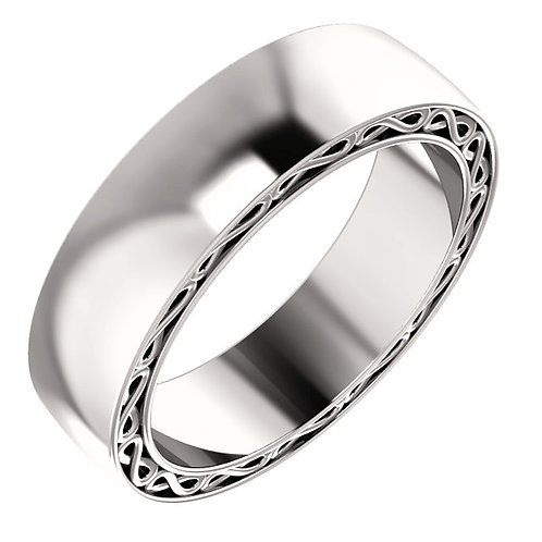 14K White Gold Infinity-Inspired Wedding Band