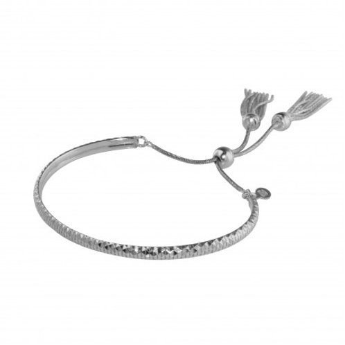 Sterling Silver Rhodium Plated DC Cuff Lariat Bracelet with Dangling Tassel