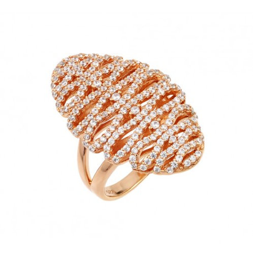 Sterling Silver Rose Gold Plated Zig Zag Ring