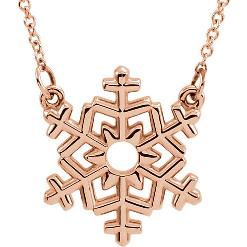 """14K Rose Gold Snowflake 16"""" Necklace"""