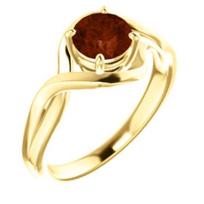 14K Yellow 6mm Round Genuine Mozambique Garnet Ring