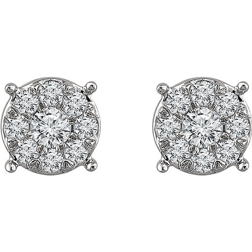 14K White Gold 1/4 CTW Diamond Cluster Stud Earrings