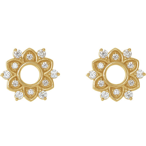 14K Yellow 1/3 CTW Diamond Starburst Earrings