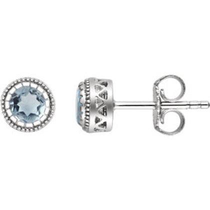"14K White Aquamarine ""March"" Birthstone Earrings"