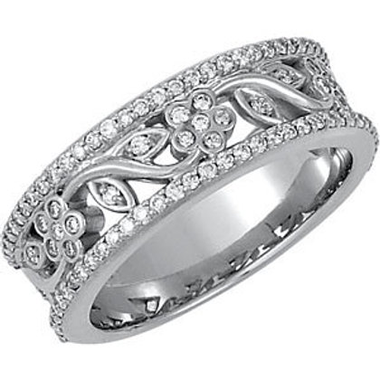 Platinum 1/2 CTW Diamond Floral-Inspired Anniversary Ring