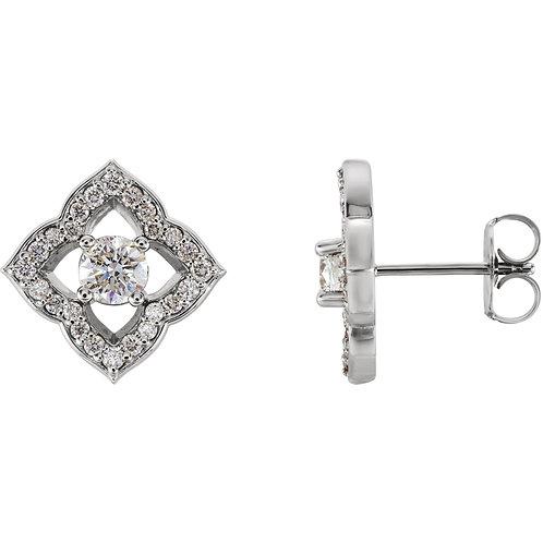 14K White Forever One™ Moissanite and 1/3 CTW Diamond Earrings