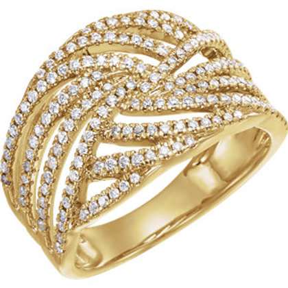 14K Yellow 1/2 CTW Diamond Accented Criss Cross Ring