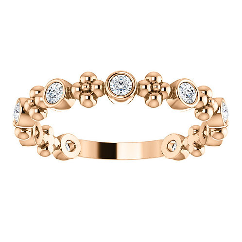 14K Rose Gold 1/4 CTW Diamond Beaded Ring