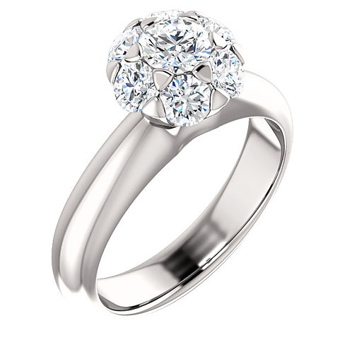 10K White Gold 1 CTW Diamond Cluster Engagement Ring