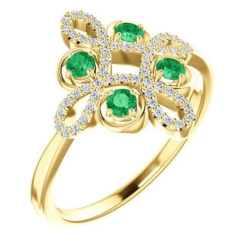 14K Yellow Gold Emerald & 1/6 CTW Diamond Clover Ring