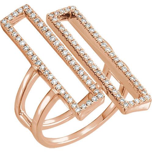 14K Rose 1/2 CTW Double Rectangle Geometric Diamond Ring