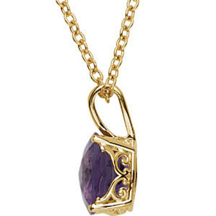 """14K Yellow 10mm Checkerboard Amethyst 18"""" Necklace"""