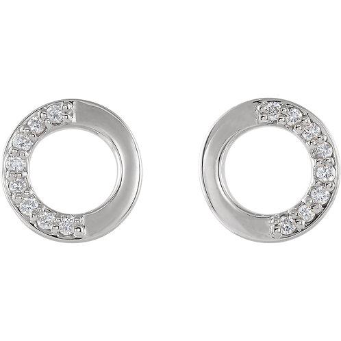 14K White Gold 1/10 CTW Diamond Circle Earrings