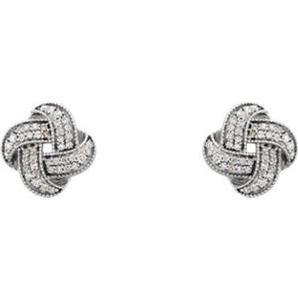 14K White Gold 1/3 CTW Diamond Knot Earrings