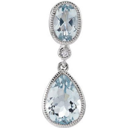 14K White Aqua & .006 CTW Diamond Pendant