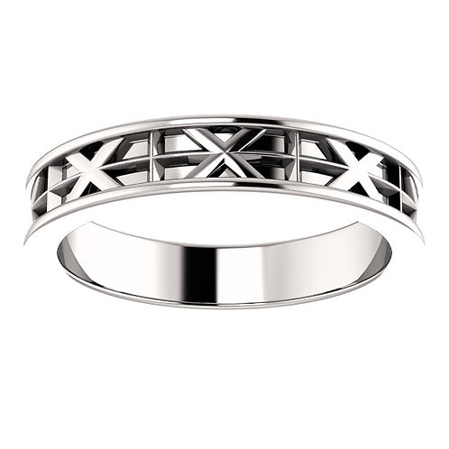 14K White Cross and X-Pattern Wedding Band