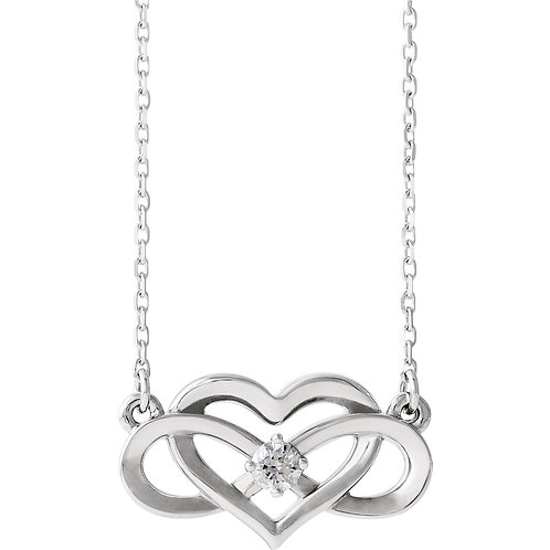14K White Gold 1/10 CTW Diamond Infinity-Inspired Heart Necklace