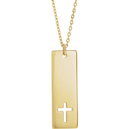 14K Yellow Gold Vertical Bar Pierced Cross Necklace