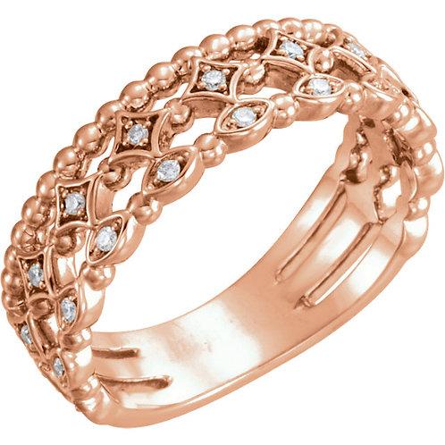 14K Rose 1/8 CTW Stackable Diamond Ring