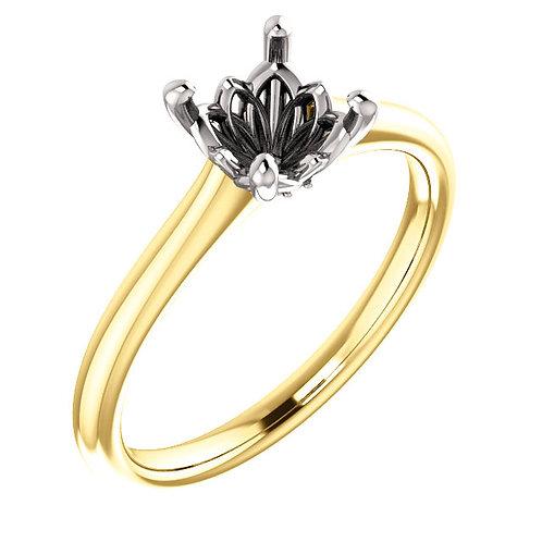 14K Yellow & White 6.5mm Round Engagement Ring Mounting