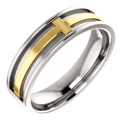 Platinum & 18K Yellow Cross Wedding Band