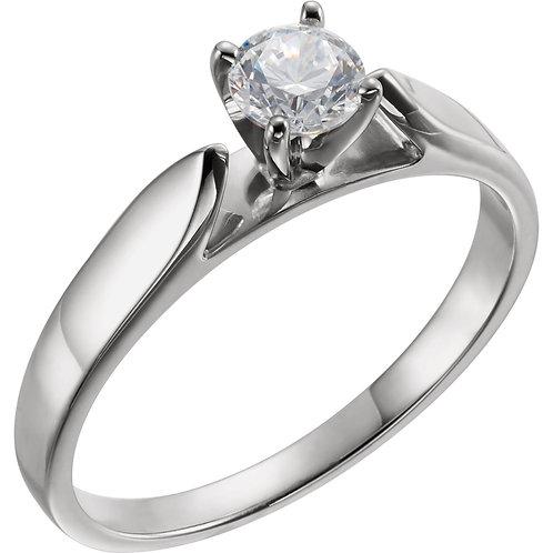 Platinum 6.5mm Round Cubic Zirconia Engagement Ring