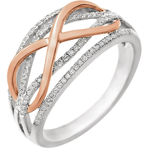 14K White & Rose 1/4 CTW Diamond Ring