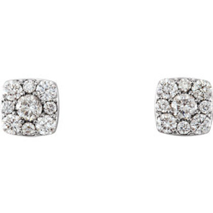 14K White Gold 1/2 CTW Diamond Cluster Earrings