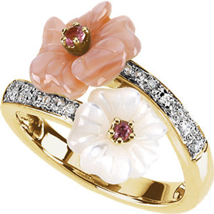 14K Yellow Gold Pink Tourmaline, Mother of Pearl, & .04 CTW Diamond Ring