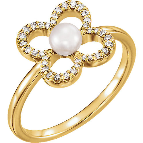 14K Yellow Freshwater Cultured Pearl & 1/6 CTW Diamond Clover Ring